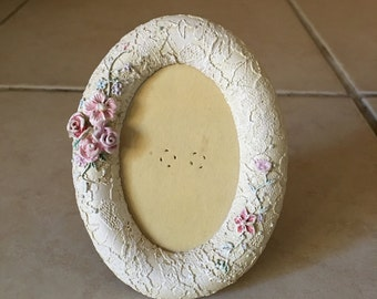 Vintage White Lace Oval Vanity Frame - Decorated with pink flowers
