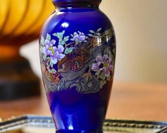 Cobalt blue kutani style Japanese bird bud miniature vase. Birds of paradise and flowers, japanese character sticker
