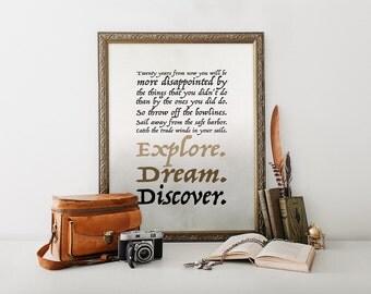 Mark Twain quote printable art Explore dream discover wall art Explore nursery decor Dream big quote Black and brown wall art Boy nursery