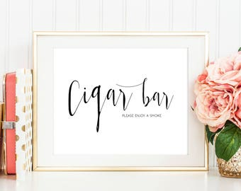 SALE Cigar Bar sign, Cigar sign Printable, Cigar Table Sign, smoke sign,  Please take one, Wedding Sign Printable, Instant Download