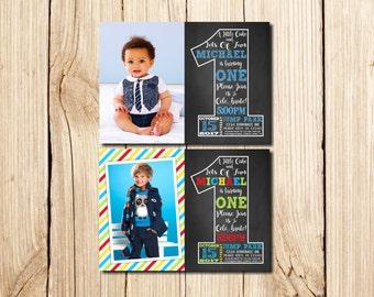 1st Birthday Invitation, with Picture, First Birthday Invitation, Boy, Сhalkboard, 1st birthday invitations Boy, Little Man Birthday