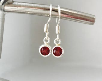 Garnet Earrings Red Silver Earrings Gemstone Earrings January Birthday January Birthstone Charm Earrings, January Earrings