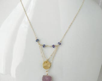 Natural Amethyst Necklace Amethyst Crystal Necklace, Amethyst Necklace, February Birthday Tanzanite Necklace Boho Necklace