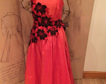 Raw silk burnt orange red vintage ball gown,  red and black floral appliqué approx size 10-12 ideal for prom or special occasion
