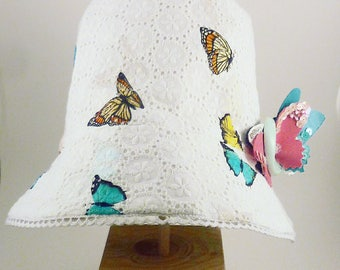 Hat, Cotton, Sangallo, Printed butterfly, Pailettes, Swarovsky, Handmade, Made in Italy