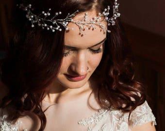 Bridal hair vines Wedding Extra long hair vines Silver wire vines white ivory pearls Bridal hair accessories tiaras Braided hair style vines