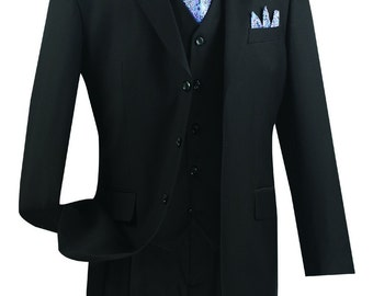Classic-fit men's suit 3 piece suit 3 bottons solid black suits new with tag
