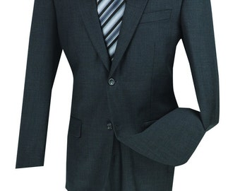 Classic-fit men's wool suit 2 piece suit 2 bottons solid charcoal suits new with tag
