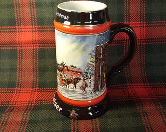 """Christmas Budweiser Beer Mug 1992 Collector's Series """"A Perfect Christmas"""" Clydesdale's 8-Horse Hitch Wagon by Susan Sampson Free Shipping"""