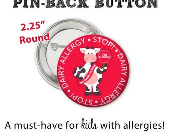 Allergy Alert Button • Dairy Allergy Pin • Allergy Alert • Diaper Bag Pin • Dairy Allergy Button • Allergy Warning Button • Don't Feed Me