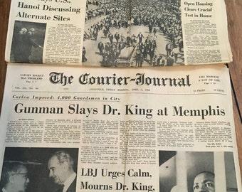 Vintage Newspaper of Dr.King , Dr. Martin Luther King Jr. Newspaper , Courier Journal , April 1968 , Dr. King Assasination , Old Paper