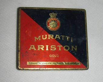 Vintage tin BOX Muratti Ariston A.G. Berlin antique cigarette CASE