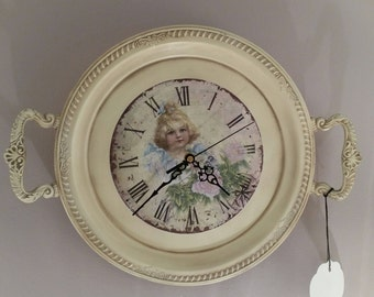 Unique Wall Clock: Vintage Upcycled Silverplate Tray Clock in Cream