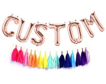 Rose Gold Mylar CUSTOM Letter Balloons - Custom Balloons - Choose Your Letters - Oh Baby Balloons - Birthday  Decor - Baby Shower Decor