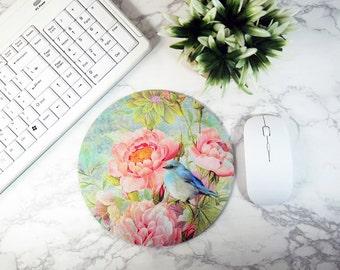 Flower Mouse Pad Floral Mouse Mat Butterfly Round Mousepad For Women Desk Decor Office Decor