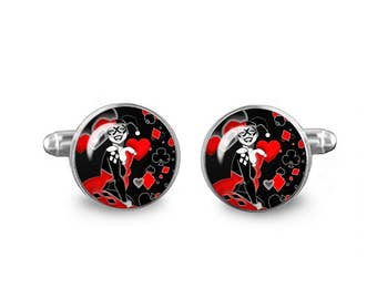 Harley Quinn Cuff Links 16mm Villains Cufflinks Gift for Men Groomsmen Novelty Cuff links Fandom Jewelry