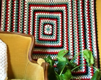 Vintage Large Square Geometric Afghan Blanket, Throw, Bedspread, Bed Cover - Bohemian Bedding