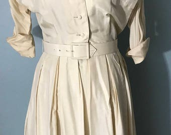 Vintage Norman Wiatt Ivory Shirtwaist Dress.