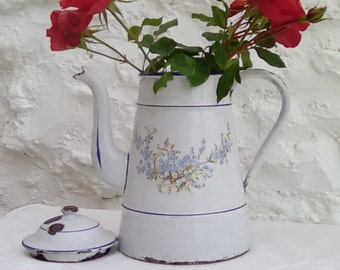Vintage French enamelware coffee pot with a pretty forget-me-not design