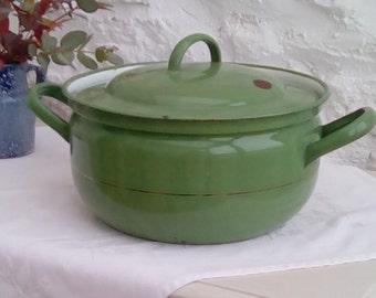 Vintage green enamel saucepan or casserole.