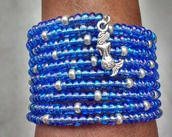 Aquamarine Bracelet, Aqua Blue Bracelet, Mermaid Bracelet, Wrap Bracelet, Memory Wire Bracelet, Ocean Bracelet, Sea Bracelet, Small Wrists
