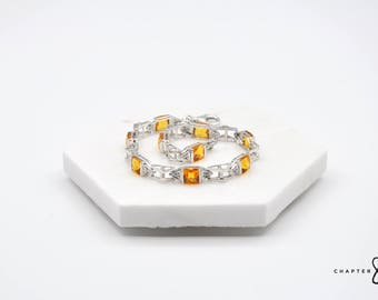 Citrine Bracelet with Cubic Zirconia | Citrine Square Bracelet | Citrine Gemstone Bracelet | Orange Stone Bracelet | 925 Sterling Silver