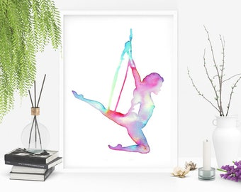 Rainbow Lyra Hoop: aerial hoop. Original watercolor art inspired by aerialists. The Circus collection Size 21x29,7 cm (8x11.5 inches)