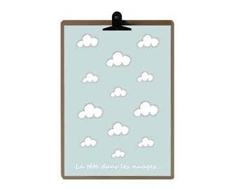 Cloud nursery print - Blue Nursery art prints - baby nursery decor - nursery wall - Children Art - Kids Room