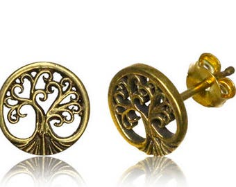 Piercing oreille, boucle d'oreille L'Arbre de vie / Brass ear stud The Tree of Life