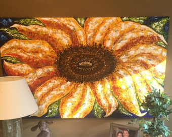 Original 30x46 Acrylic Layered Painting: Sunflower