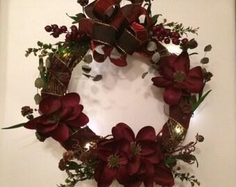 Burgundy Magnolia Wreath, Magnolia Grapevine Wreath, Magnolia Wreath, Magnolia Grapevine Wreath with Lights, Magnolia Front Door Wreath