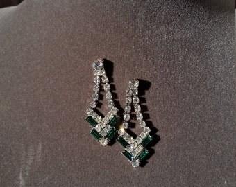 Emerald Green & Clear Rhinestone Earrings