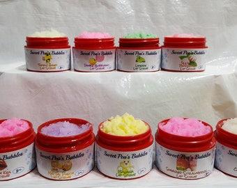 Lip Scrubs, Sugar Lip Scrubs, Bubble Gum, Mai Tai Punch, Banana, Coconut Cream, Cherry, Strawberry, Limeade, Honey. Peppermint