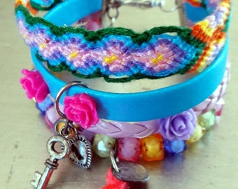 Boho friendship bracelet multi color cuff woven with Roses and tassels, modern design Ibiza bracelet
