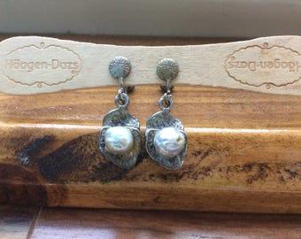 silver pearl delicate in a flower petal clip on earrings