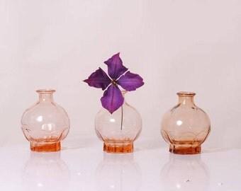 middle century French vase / decoration/pink glass vase French antique/liquor flask