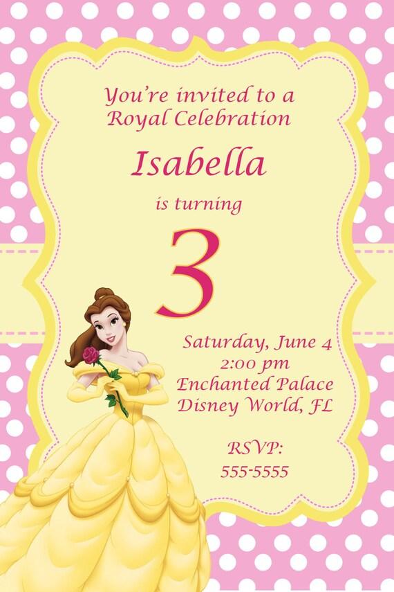 Beauty and the Beast Birthday Invitation - Belle Disney Princess ...