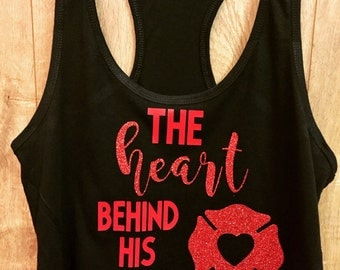 The heart behind his boots/ ladies tank top/ firefighter girlfriend wife