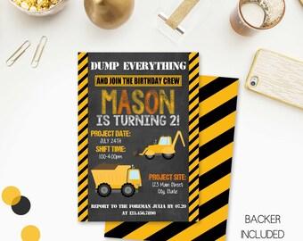 Construction Birthday Invitation, Construction Party, Construction Birthday, Dump Truck, Digital File, Printable, DIY, 088