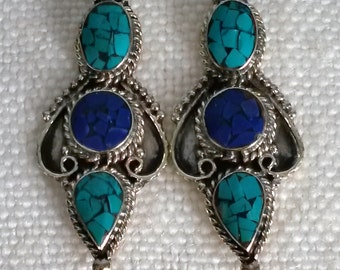 Ethnic earrings - Turquoise / lapis lazuli - handmade
