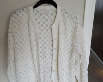 Vintage 1970s lace knit cream cardigan, leaf lace knit cardigan, Wayne Taylor cardigan sweater