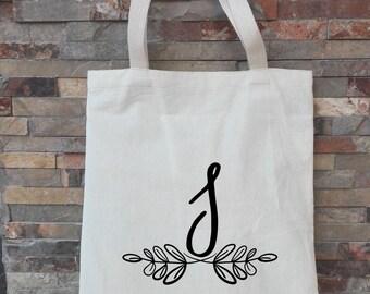 initial tote bags, screen printed bag, girlfriend gift, tote bag with name, custom bride tote, wedding planner tote, personlized tote bag