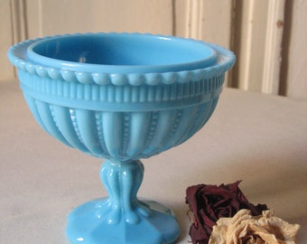 Cup on foot in opaline, turquoise blue / Vallérysthal Portieux french milk glass / compote, Bowl to biscuits, sweets / Deco table