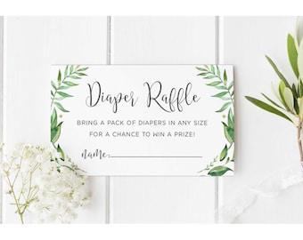 Diaper Raffle insert, Diaper Raffle Card, Digital Diaper Raffle Insert, instant download, greenery, tropical, garden