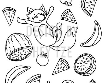 Fox coloring pages  Etsy