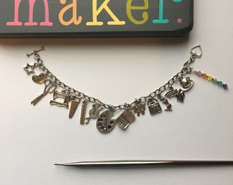 The Makers Charm Bracelet, Crafters Charm Bracelet, Artist Charm Bracelet, Charm Bracelet, Bracelet, Silver Bracelet, Charms, Silver Charms