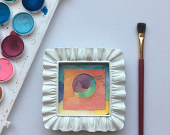 Original Art, Watercolor Collage, Mini Art, Mini Painting, Abstract Painting, Abstract Art, Abstract Watercolor, Multi Color Art, Framed Art