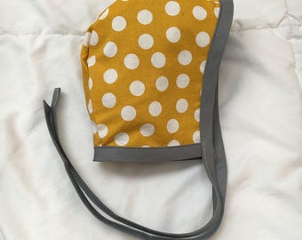 SALE! //Baby bonnet // reversible bonnet // hat, baby hat, mustard yellow, polka dots, gray, triangles