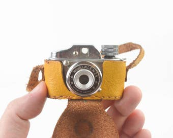 Vintage 1950s Subminiature Spy Camera Toy with Yellow Leather Case