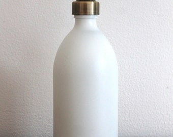 Matt White Glass Soap Dispenser Bottle With Stainless Steel Pump